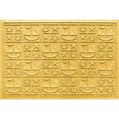 Yellow 24 in. x 36 in. Nautical Polypropylene Door Mat