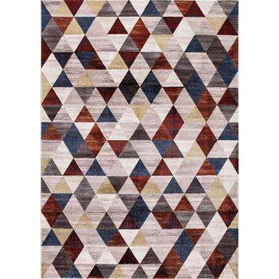 Olympus Diamond Red Rectangle Indoor 7 ft. x 9 ft. Area Rug