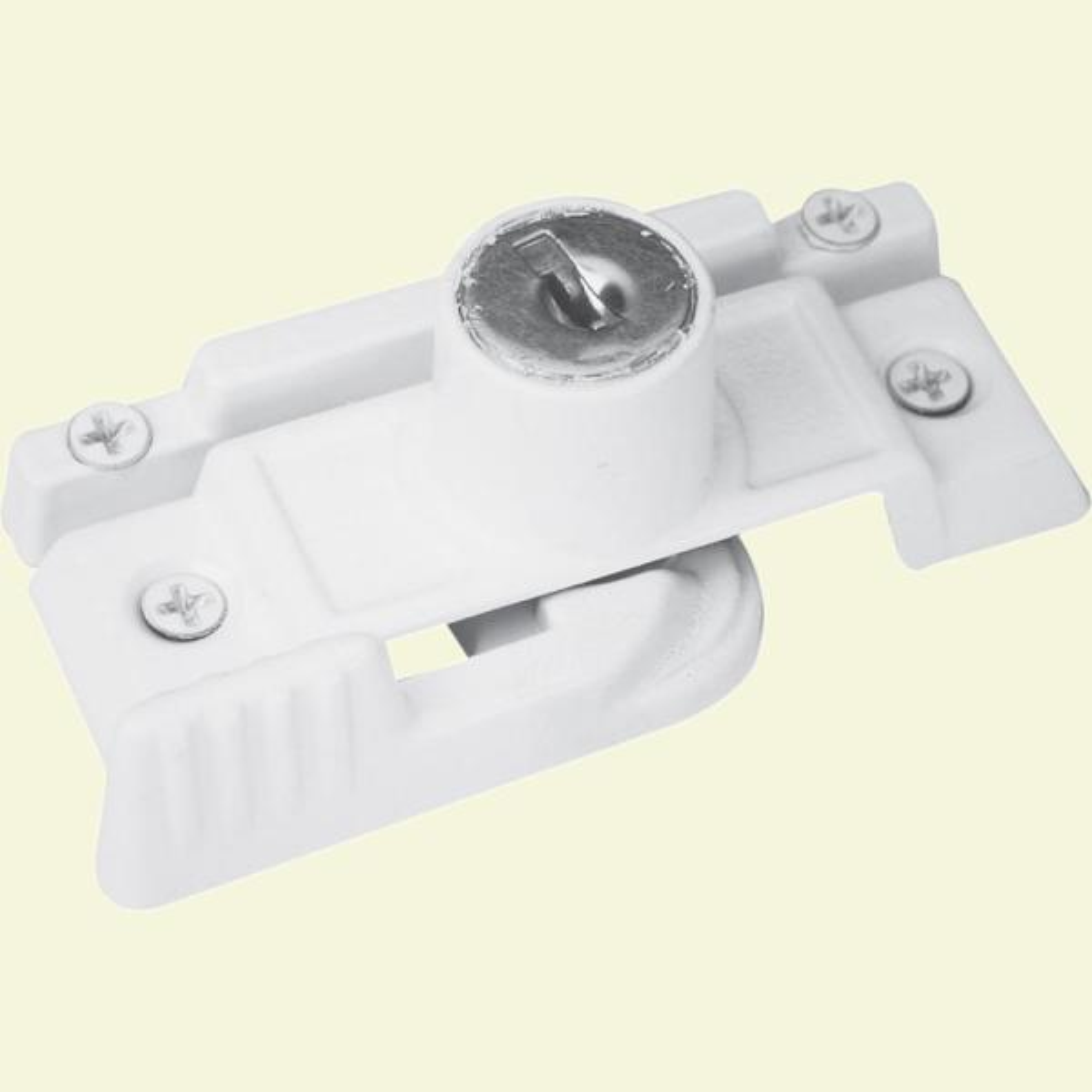 White, Slim-Line Keyed Sash Lock