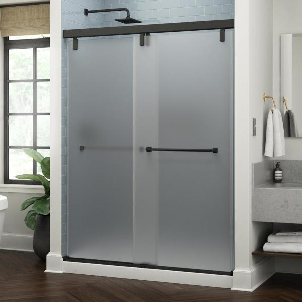 Everly 60 in. x 71-1/2 in. Frameless Mod Soft-Close Sliding Shower Door in Matte Black with 3/8 in. (10 mm) Niebla Glass