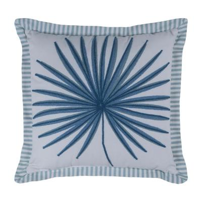 Ocean Blues Emboirdered Palm Decorative Pillow 16 in. L x 16 in. W