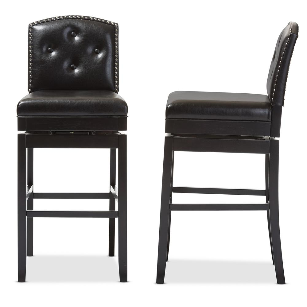 baxton studio ginaro brown faux leather upholstered 2 piece bar stool set 2pc 6750 hd the home. Black Bedroom Furniture Sets. Home Design Ideas