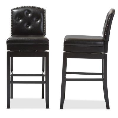 Ginaro Brown Faux Leather Upholstered 2-Piece Bar Stool Set