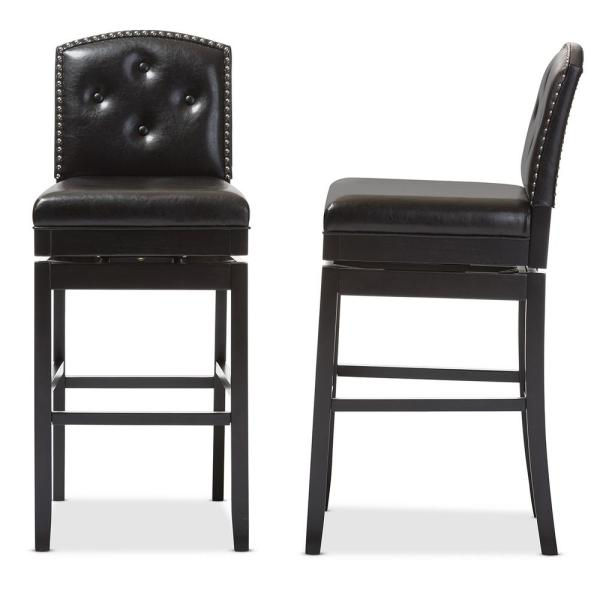 Baxton Studio Ginaro Brown Faux Leather Upholstered 2-Piece Bar Stool Set