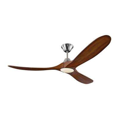 Maverick LED 60 in. Integrated LED Indoor/Outdoor Brushed Steel Ceiling Fan with Koa Blades with Remote Control