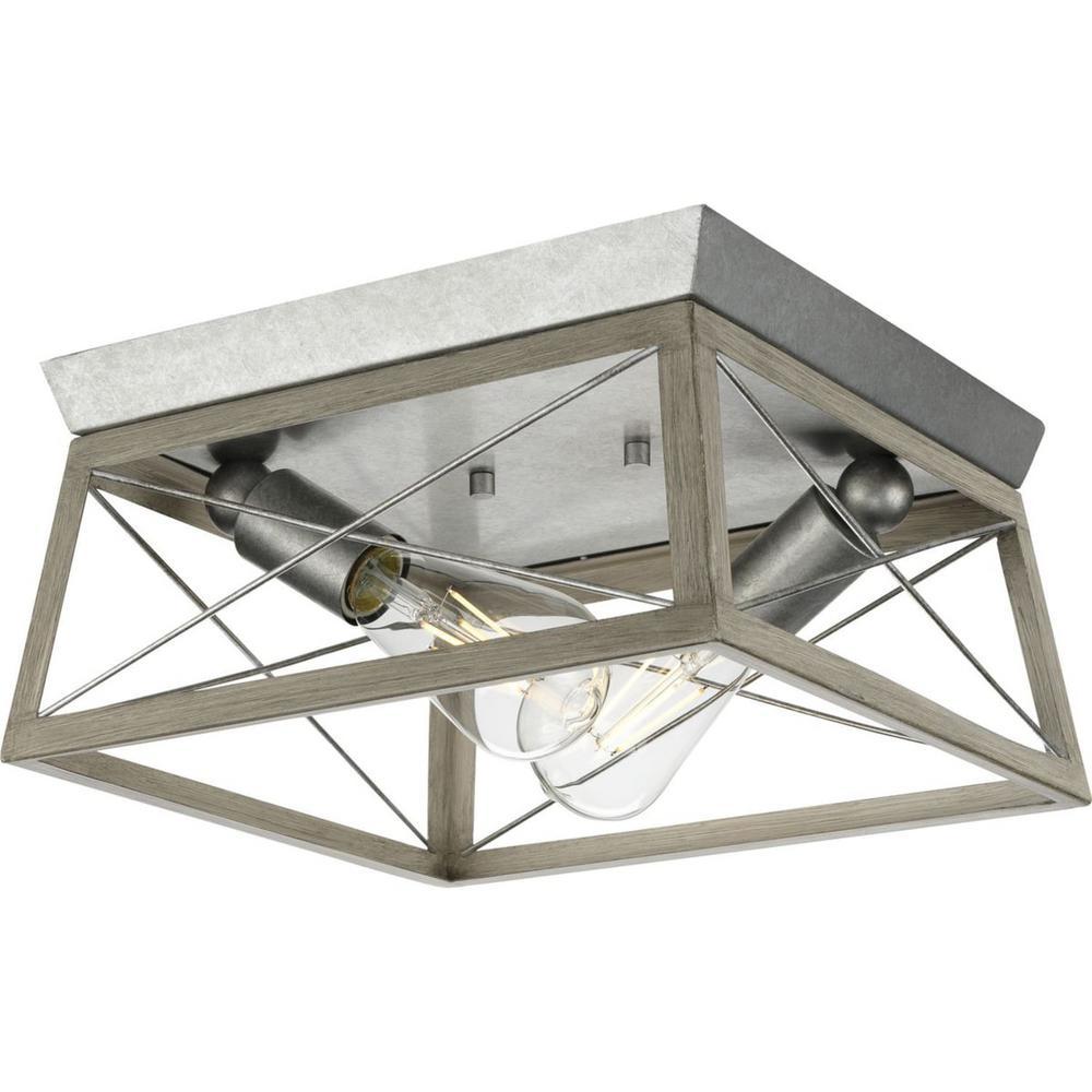 Briarwood 2-Light Bleached Oak Farmhouse Flush Mount Ceiling Light