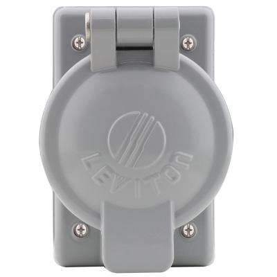 1-Gang Weather-Resistant FS Mount Cover Plate with Vertical Self Closing Lid for 2.15 in. Dia 50 Amp Outlet, Aluminum