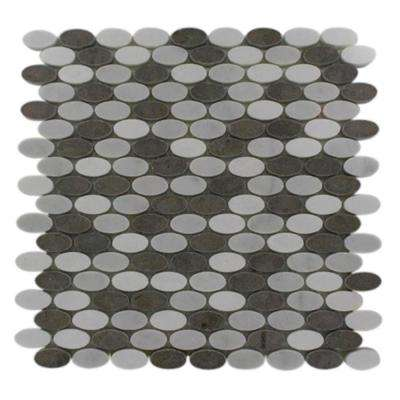 Orbit Sleet Ovals 12 in. x 12 in. x 8 mm Marble Mosaic Floor and Wall Tile