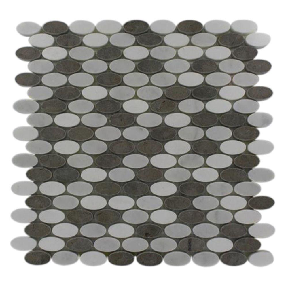 Ivy Hill Tile Orbit Sleet Ovals 12 in. x 12 in. x 8 mm Marble Mosaic Floor and Wall Tile