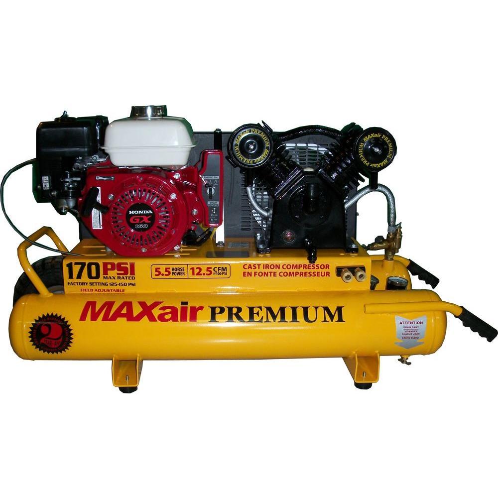 Maxair Wheelbarrow Premium Industrial 10-Gal. 5.5 HP Gas Honda Air Compressor