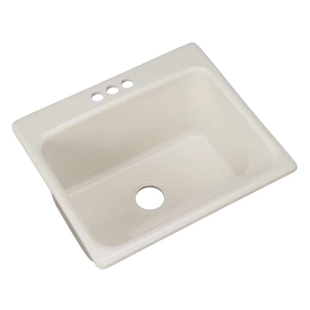 Kensington Drop-In Acrylic 25 in. 3-Hole Single Bowl Utility Sink in Biscuit