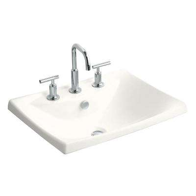 Escale Drop-In Ceramic Bathroom Sink in White with Overflow Drain