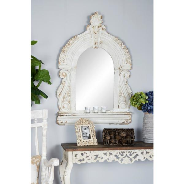 Arched Cathedral-Style Antique White Wall Mirror