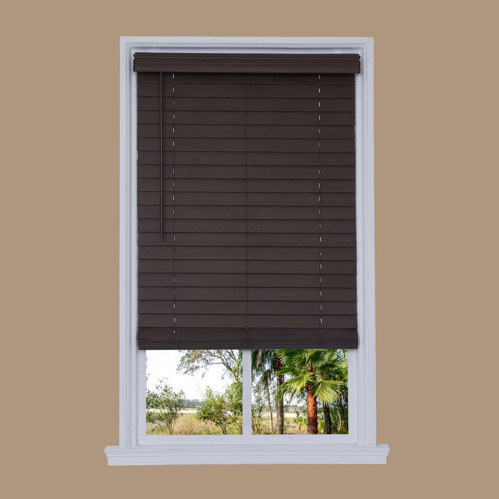 Cut-to-Width Walnut Cordless 2.5 in. Distressed Faux Wood Blind - 27.75