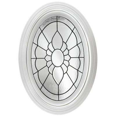 23.25 in. x 35.25 in. Decorative Glass Fixed Oval Geometric Vinyl Windows Floral Glass, Nickel Caming in White