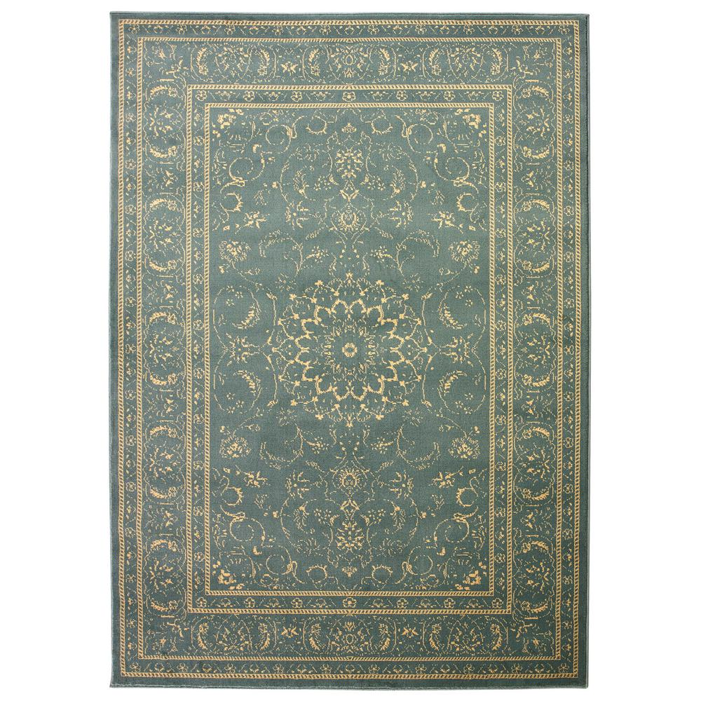Queen Collection Oriental Mahal Teal and Beige 7 ft. 10 in.