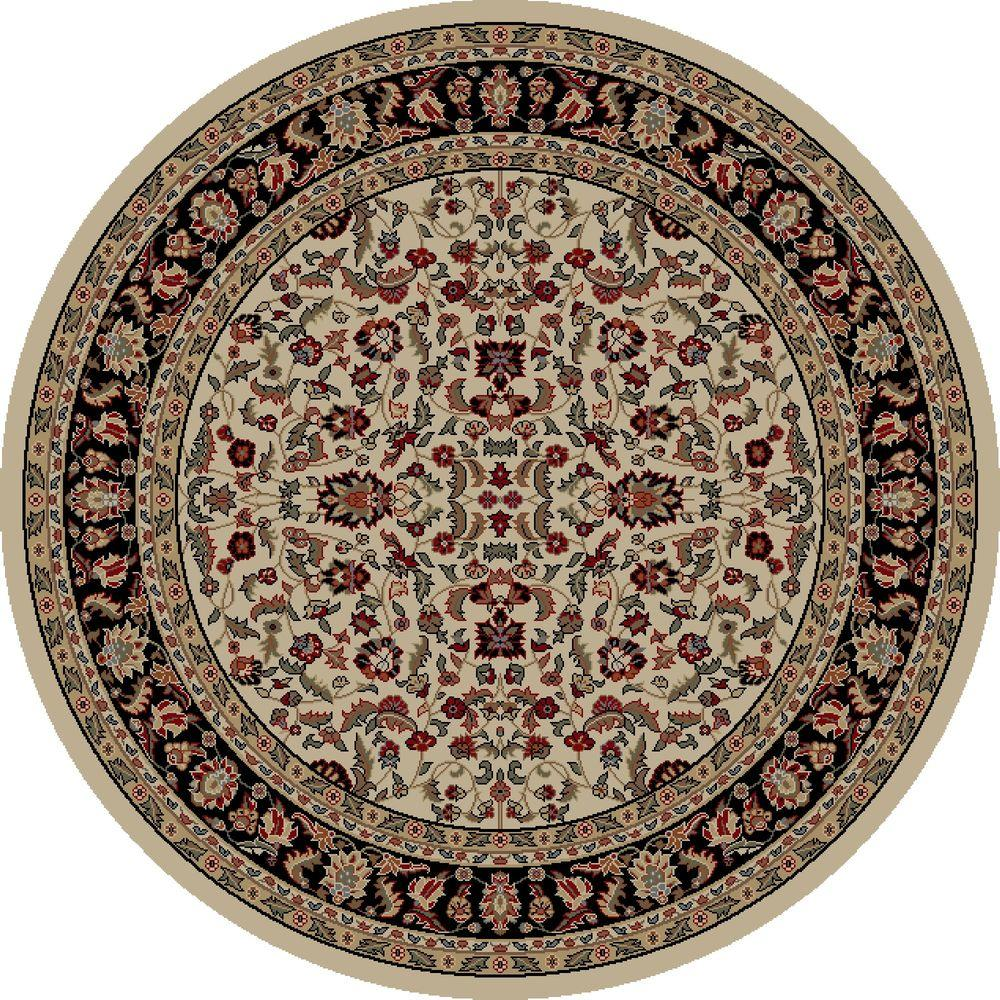 Jewel Kashan Ivory/Black 5 ft. 3 in. Round Area Rug