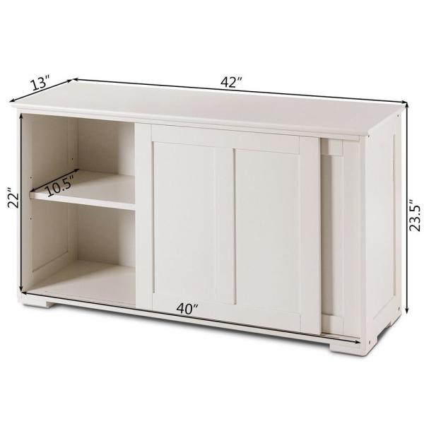 Costway White Wood Kitchen Storage Cabinet Sideboard Buffet Cupboard With Sliding Door Hm0004 The Home Depot