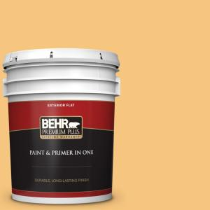 Behr Premium Plus 5 Gal Ppu6 07 Jackfruit Flat Exterior Paint And Primer In One 440005 The Home Depot