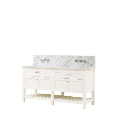 Preswick Spa Premium 70 in. W x 25 in. D Vanity in White with Marble Vanity Top in White Carrara with White Basin