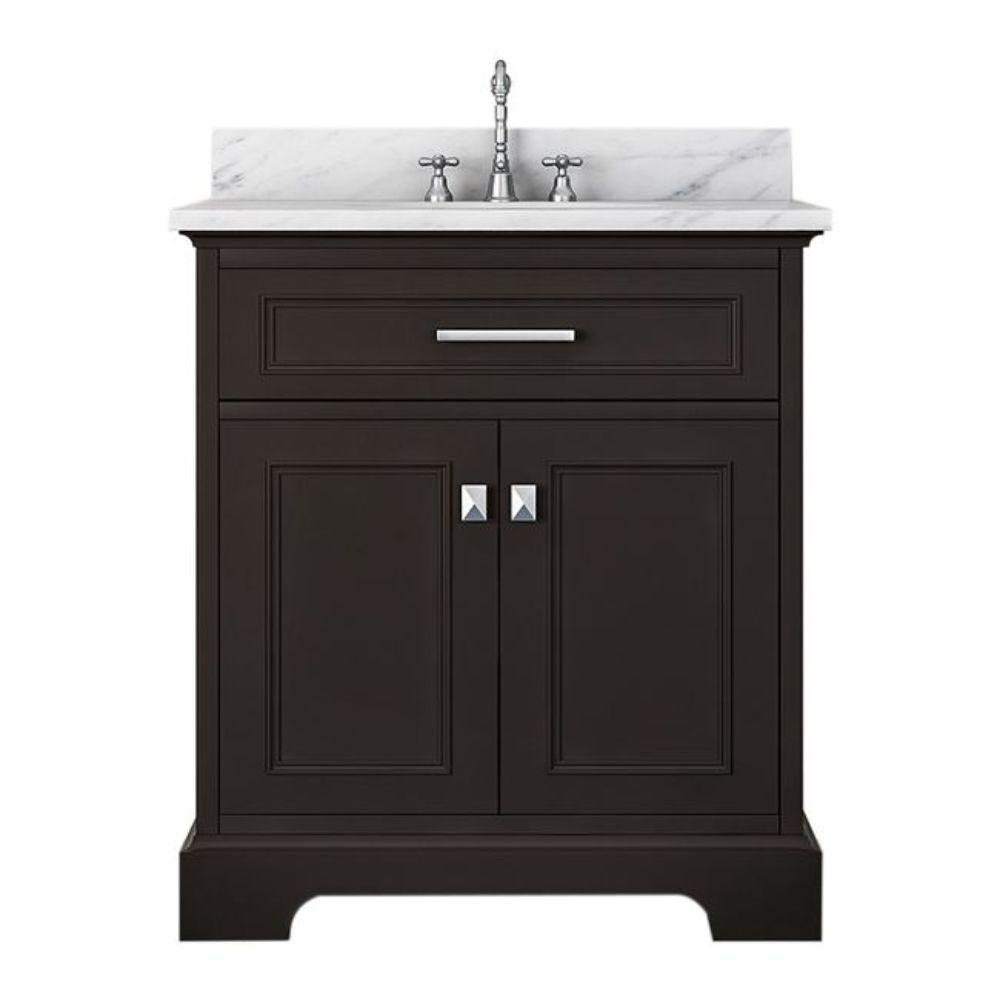 Alya Bath Yorkshire 31 in. W x 22 in. D Bath Vanity in Espresso with Marble Vanity Top in White with White Basin