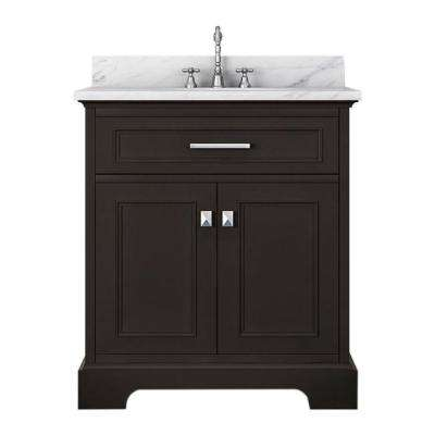 Yorkshire 31 in. W x 22 in. D Bath Vanity in Espresso with Marble Vanity Top in White with White Basin