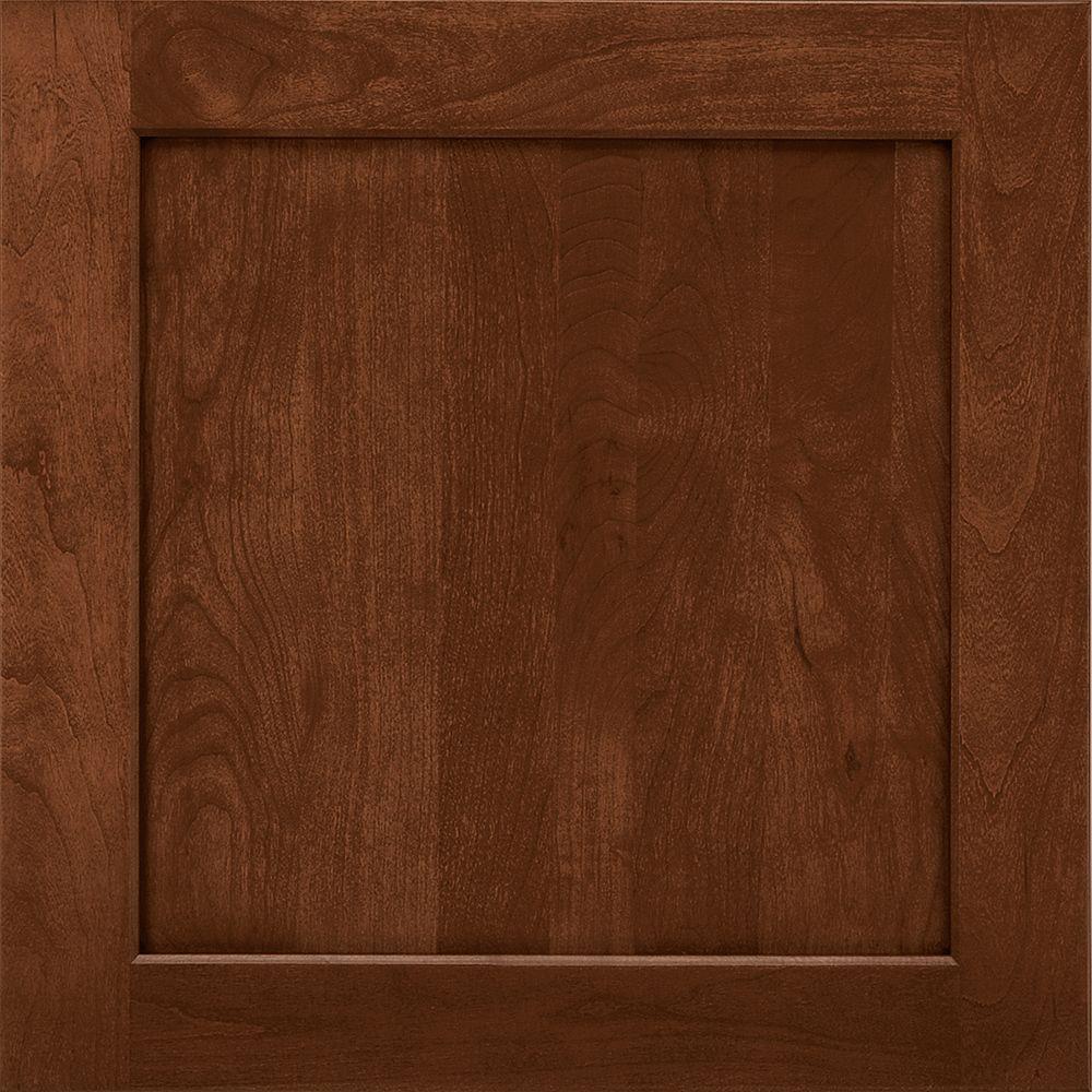 American Woodmark 14-9/16x14-1/2 in. Cabinet Door Sample in Townsend Cherry Chocolate Glaze