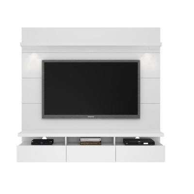 Cabrini Theater 71 in. White Gloss Entertainment Center with 3 Drawer Fits TVs Up to 60 in. with Wall Panel