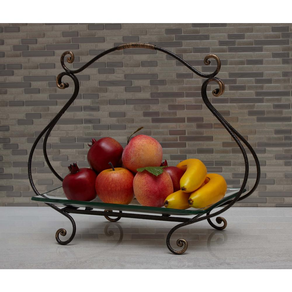 20 in. x 17 in. New Traditional Iron and Glass Cartouche Plate Server