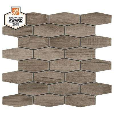 Sierra Wood Linear Hexagon 12 in. x 13 in. x 8mm Glazed Porcelain Mosaic Floor and Wall Tile (0.97 sq. ft. / piece)