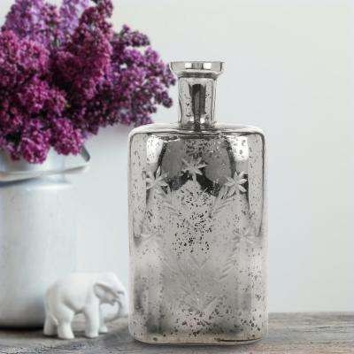 6 in. x 11 in. Silver Mercury with Cut Glass Star Pattern Bottle