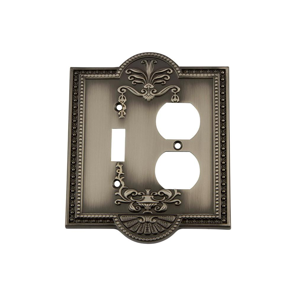 Meadows Switch Plate with Toggle and Outlet in Antique Pewter