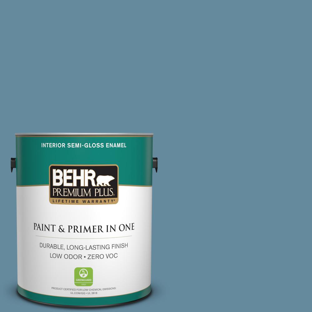 1-gal. #550F-5 Winter Lake Zero VOC Semi-Gloss Enamel Interior Paint