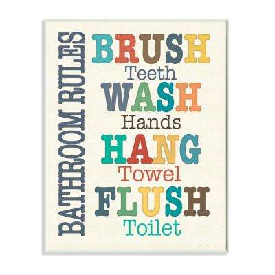 """12.5 in. x 18.5 in. """"Colorful Bathroom Rules Typography Art"""" by Jo Moulton Printed Wood Wall Art"""