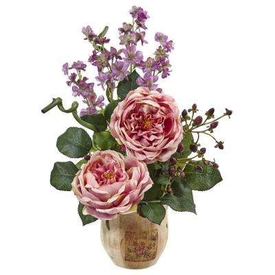 17 in. Large Rose and Dancing Daisy in Wooden Pot in Pink
