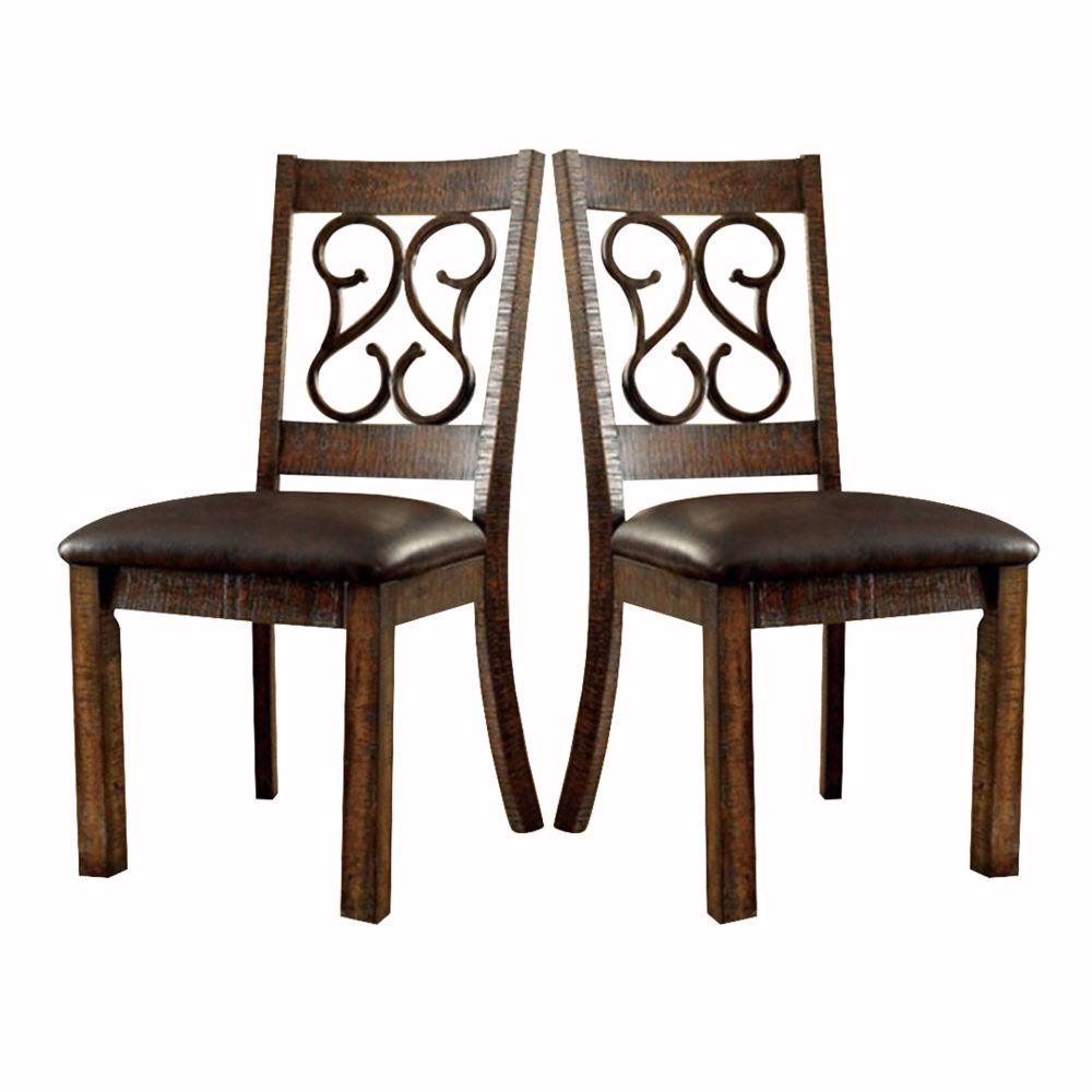 Rustic Walnut Brown Wooden Armless Side Chair with Leather Seat (Pack of 2)