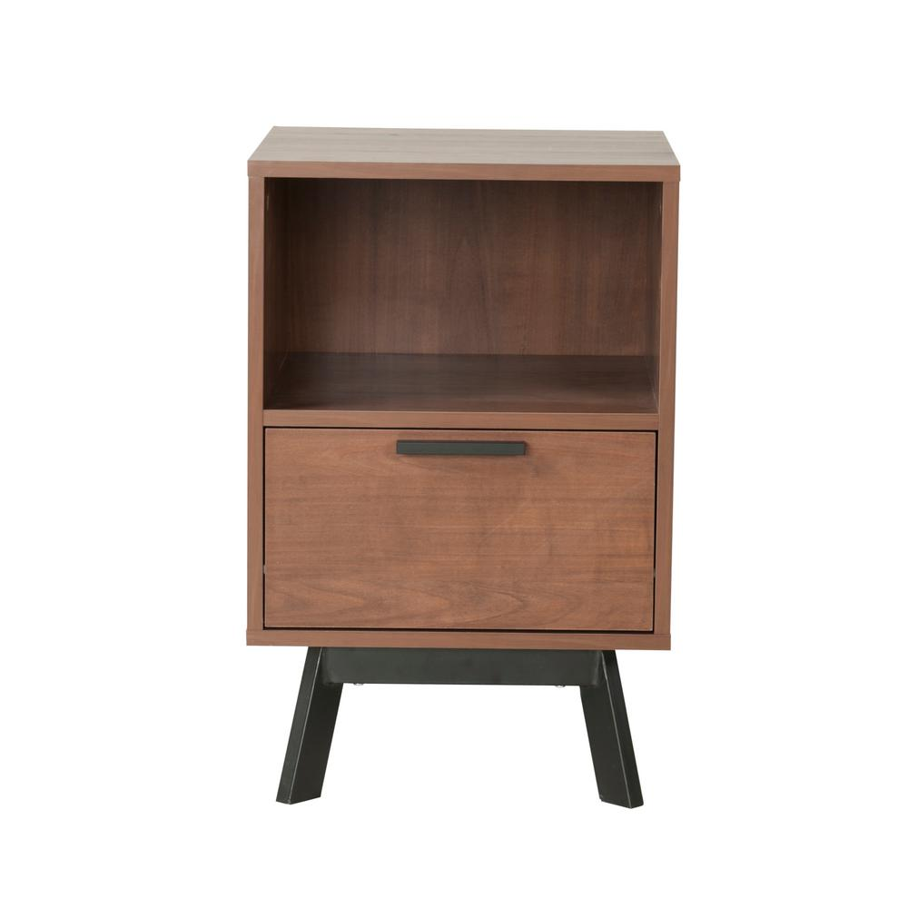 Milan 1-Drawer Vintage Umber Nightstand