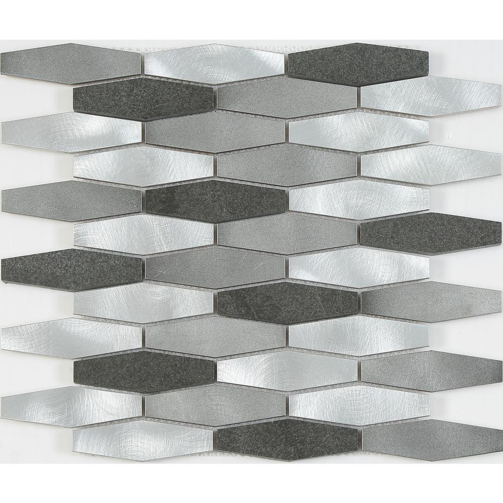 Aluminum and stone mosaic backsplash in gray sliver 12 6 sq ft case