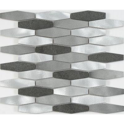 CHENX 11.81 in. x 13.98 in. Aluminum and Stone Mosaic Backsplash in Gray/Sliver (12.6 sq. ft./case)