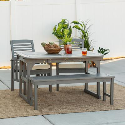 Grey Wash 4-Piece Classic Wood Outdoor Patio Dining Set with Cream Cushions