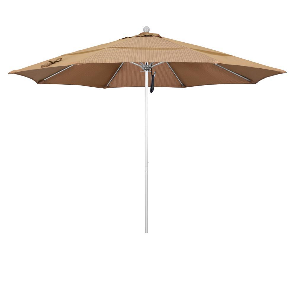 11 ft. Market Silver Anodized Fiberglass PO DVent Patio Umbrella in Terrace Sequoia Olefin