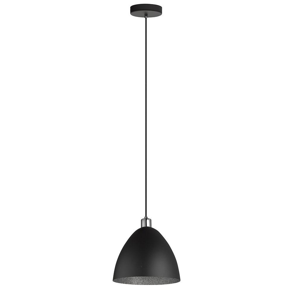Eglo Mareperla 60-Watt 1-Light 11 in. Pendant with Black Exterior