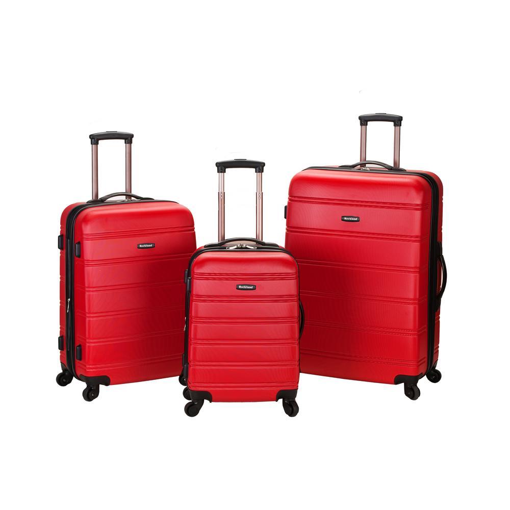 Rockland Melbourne 3-Piece Hardside Spinner Luggage Set, Red