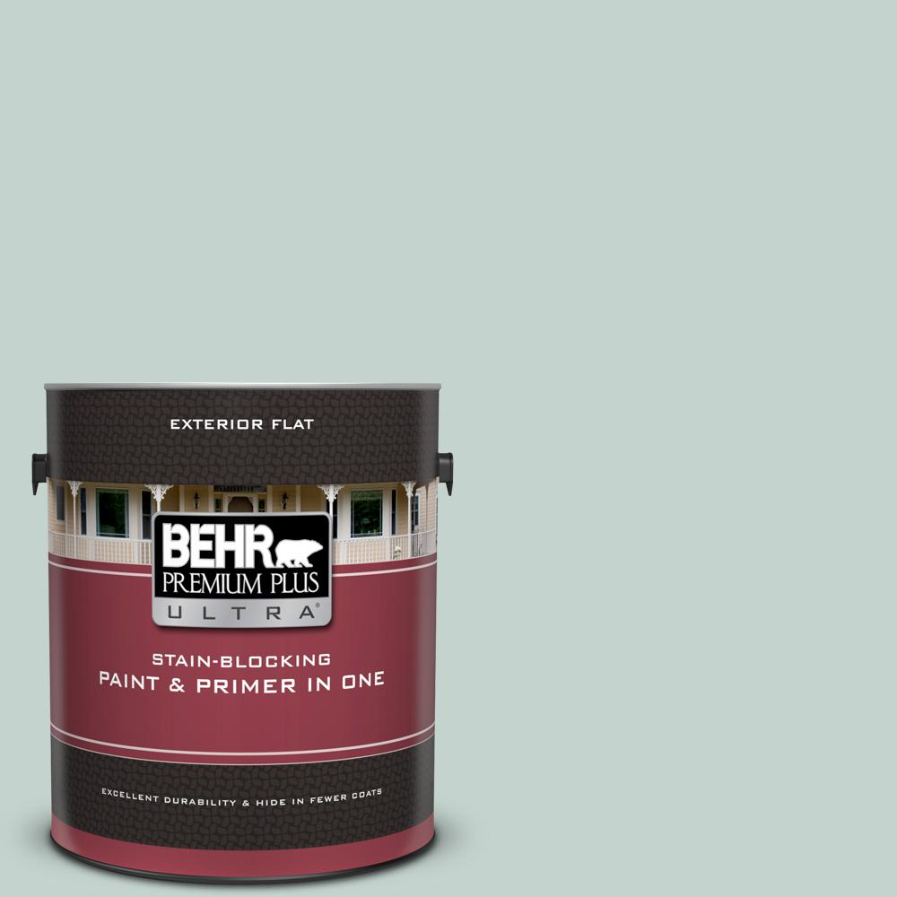 BEHR Premium Plus Ultra 1 gal. #N430-2 Natures Reflection Flat Exterior Paint and Primer in One