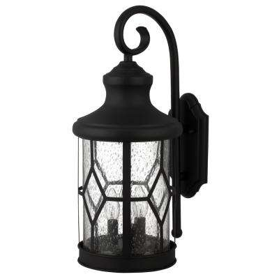 Atlanta 3-Light Outdoor Black Wall Mount Lantern