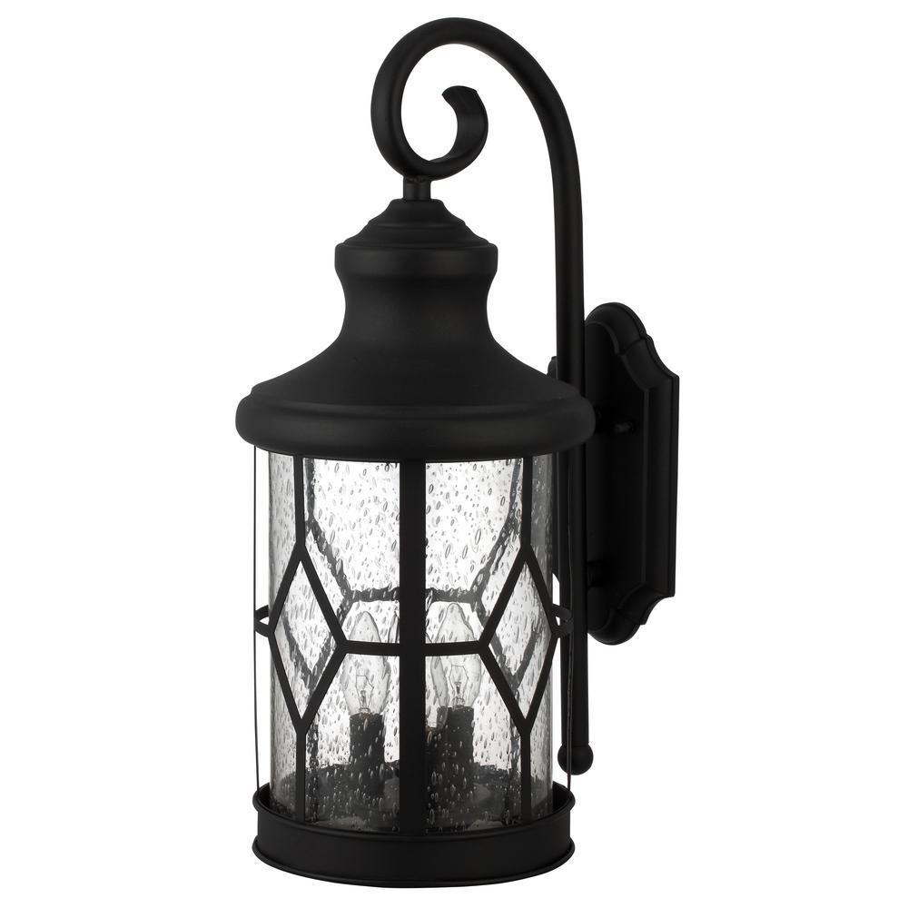 Atlanta 3-Light Outdoor Black Wall Mount Lantern