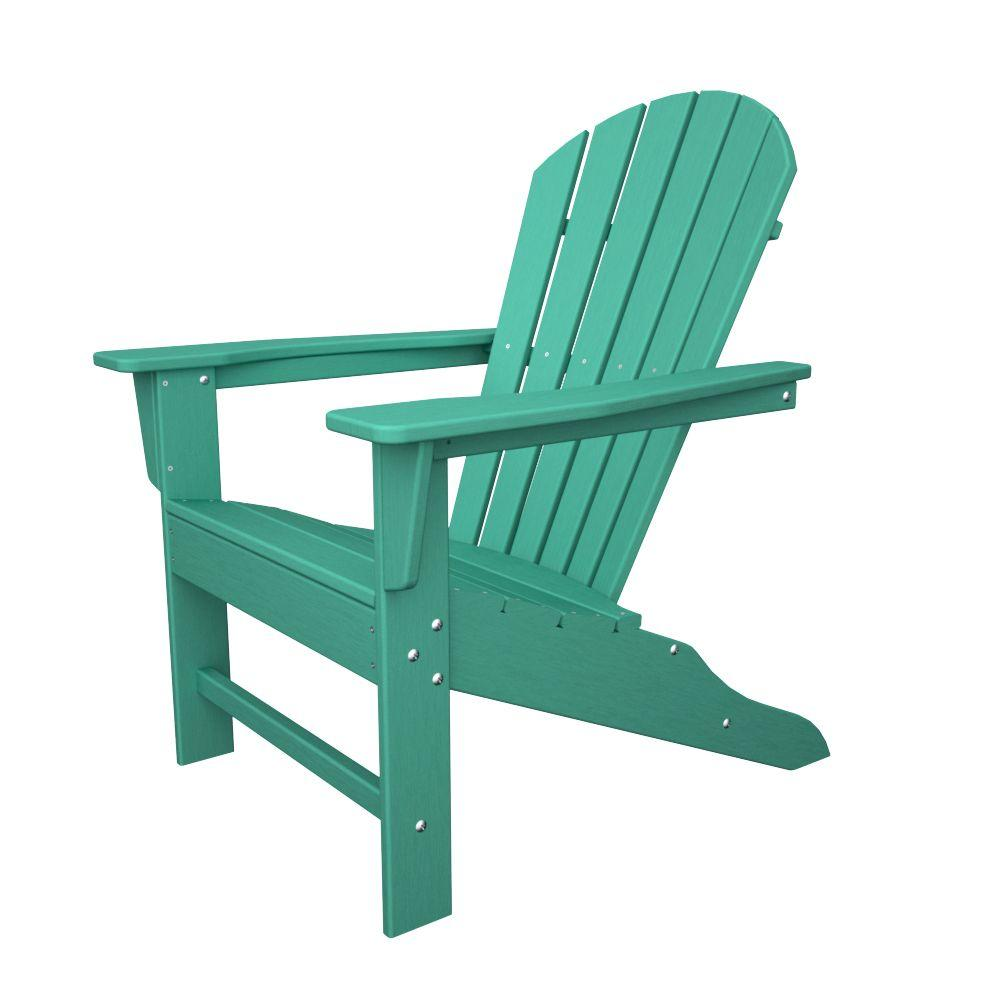 Polywood South Beach Aruba Plastic Patio Adirondack Chair Sba15ar The Home Depot