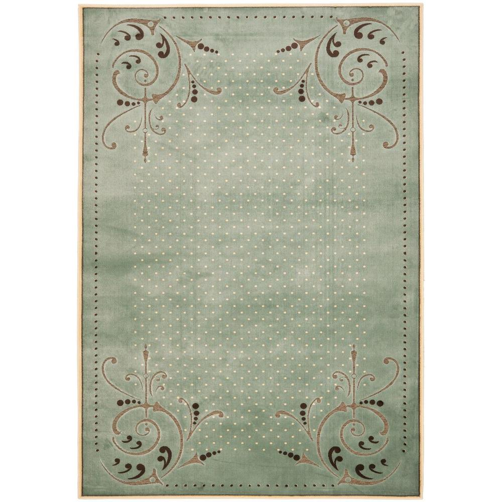 Martha Stewart Living Scrollwork Blue 8 ft. x 11 ft. 2 in. Area Rug