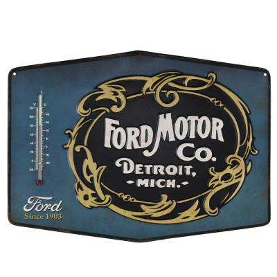 Motor Co. Die Cut Embossed Tin Thermometer Decorative Sign