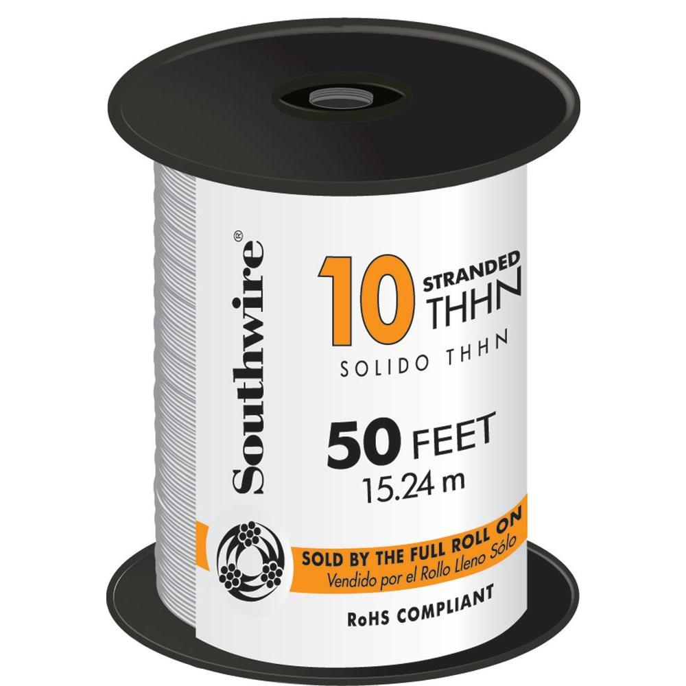 50 ft. 10 White Stranded CU THHN Wire